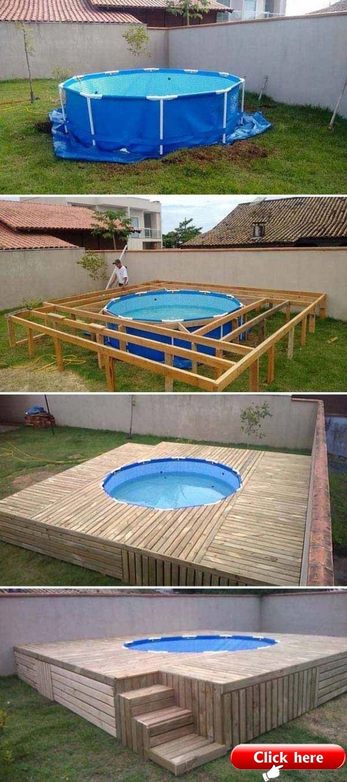 DIY Pallet Pool Deck - Pallet ideas - pool ideas with pallets