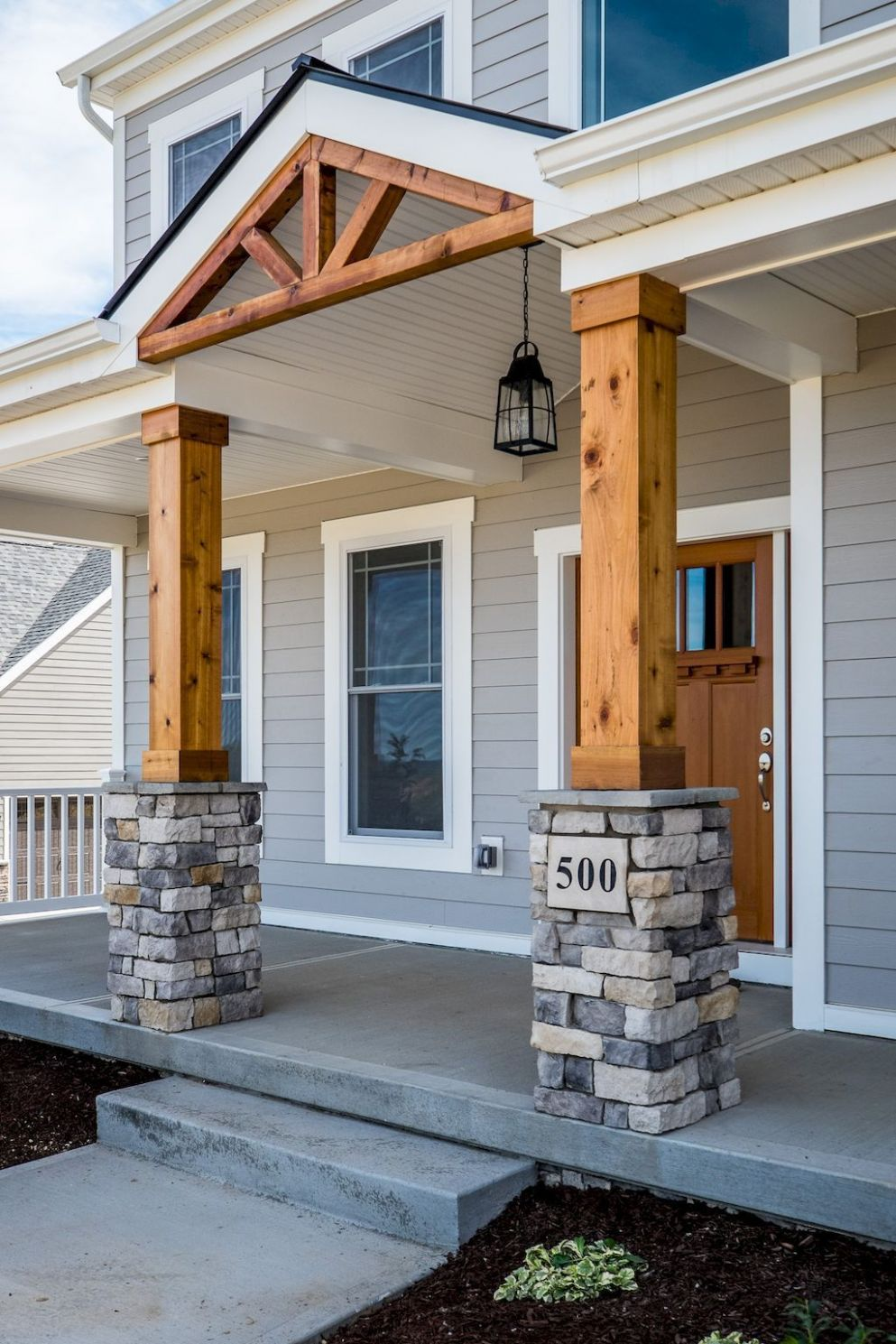 Exterior house porch ideas with stone columns (12 (With images ...