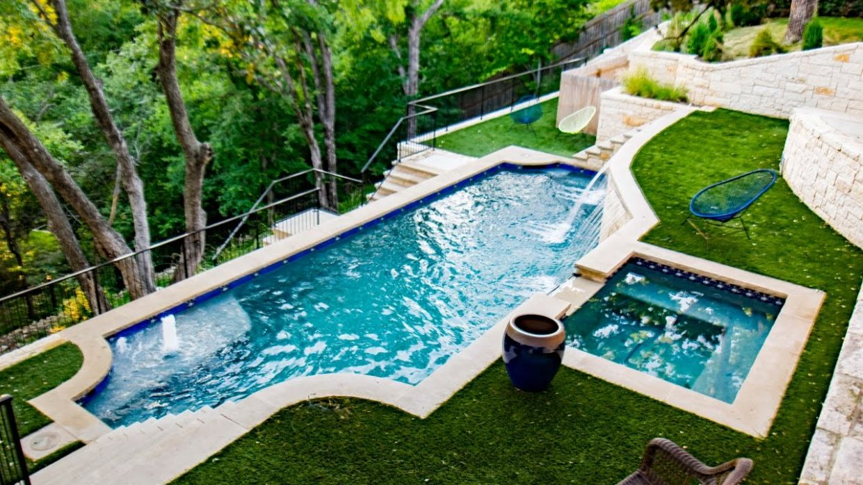 Extreme Hillside Pool, Spa and Outdoor Living in Ft Worth - pool ideas on a slope