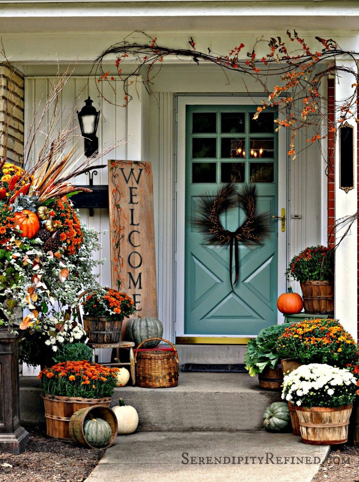 Fall Harvest Porch Decor with Reclaimed Wood Sign | Fall ...