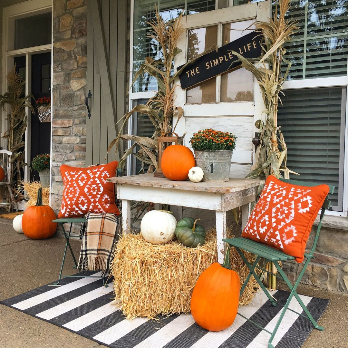 Fall Porch Decor Ideas Anyone Can Pull Off This Year - front porch harvest decor