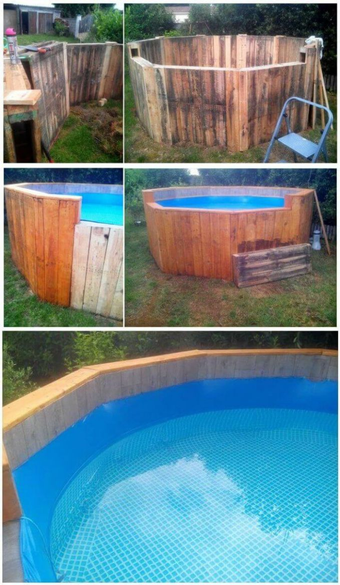 Free of Cost Pallet Swimming Pool - Easy Pallet Ideas - pool ideas with pallets