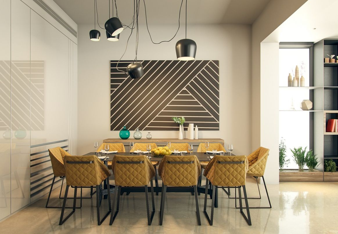 geometric dining room decor theme with yellow chairs   Interior ..