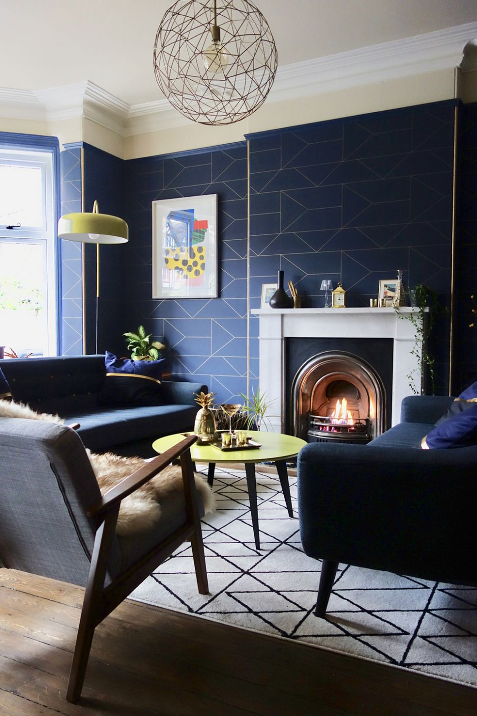 Geometric Navy Blue Wallpaper In A Contemporary Living - Navy And ..