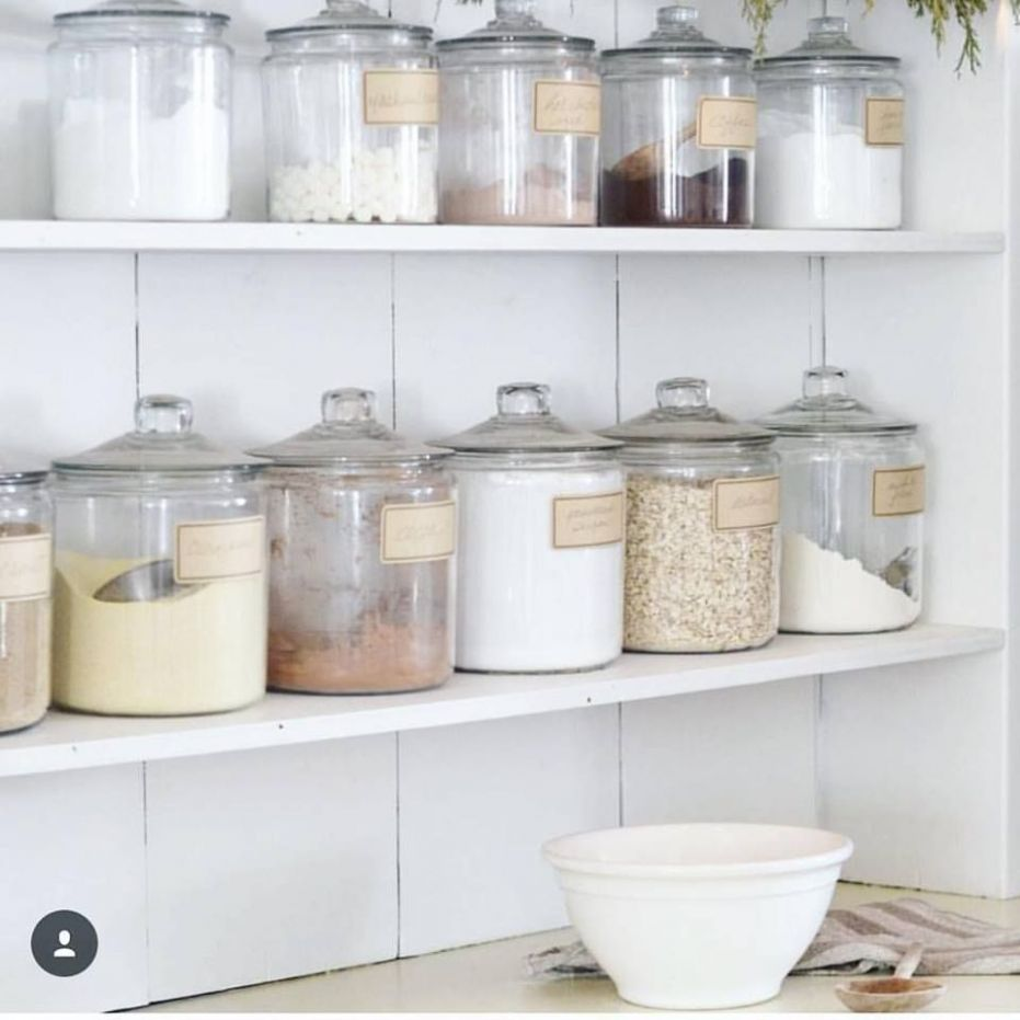 Glass jar kitchen storage | Farmhouse style kitchen, Farmhouse ..