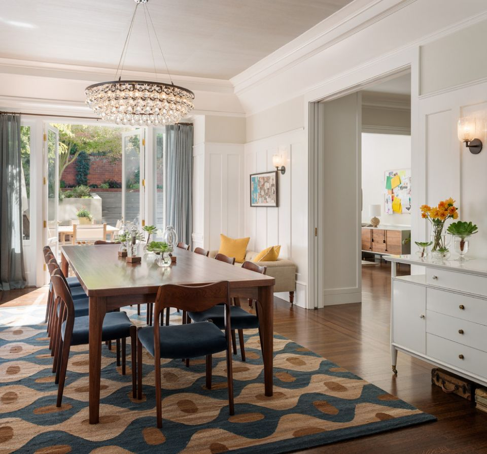 Gorgeous shag rug in Dining Room Transitional with Kitchen Curtain ..
