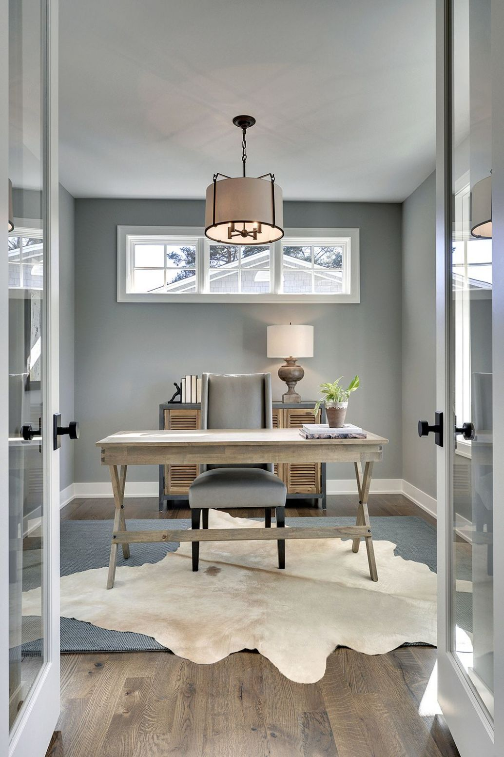 Gray home office with cow hide rug   Gray home offices, Home ...