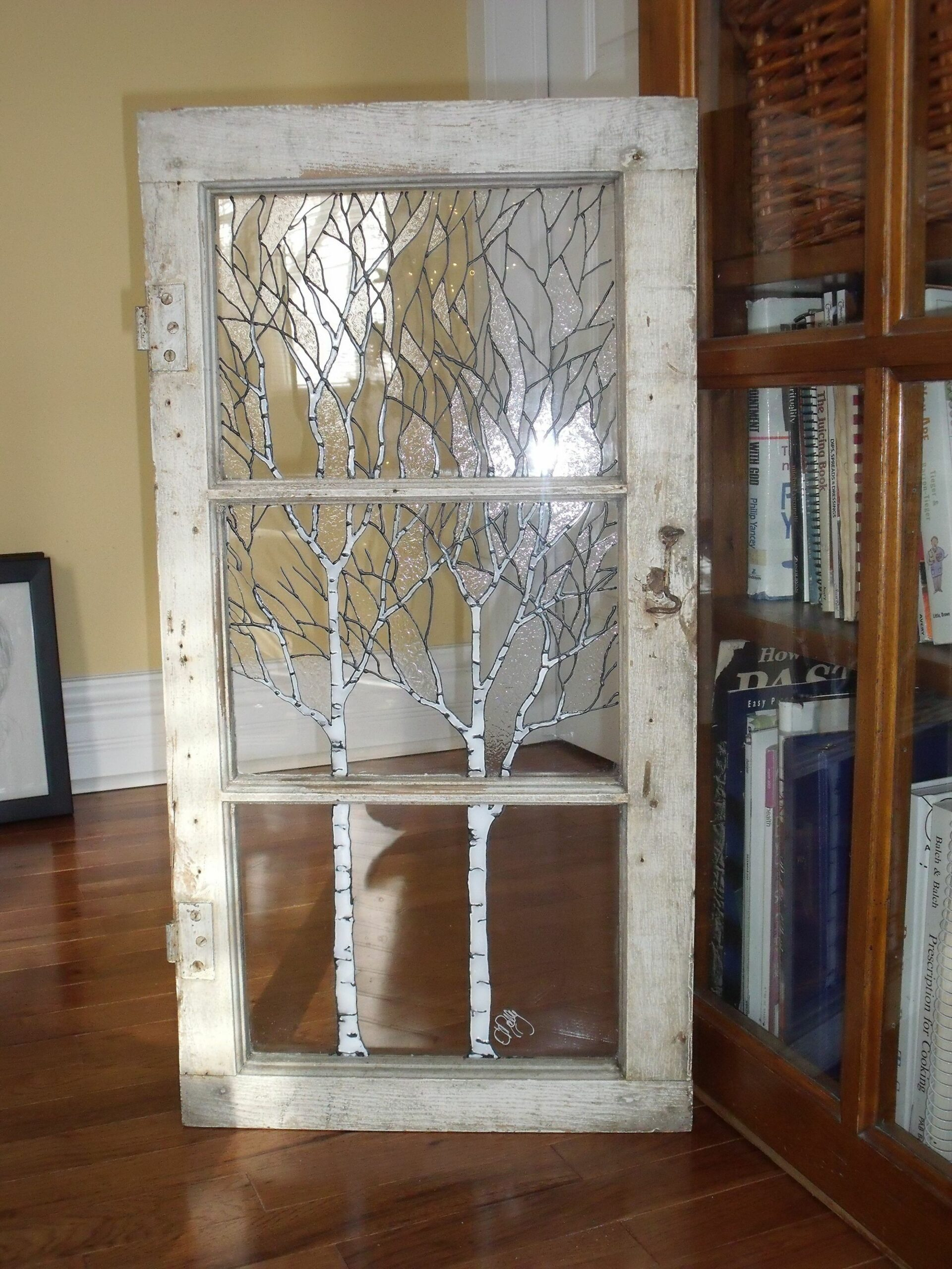 great idea for an old window or door! | Glass painting designs ...