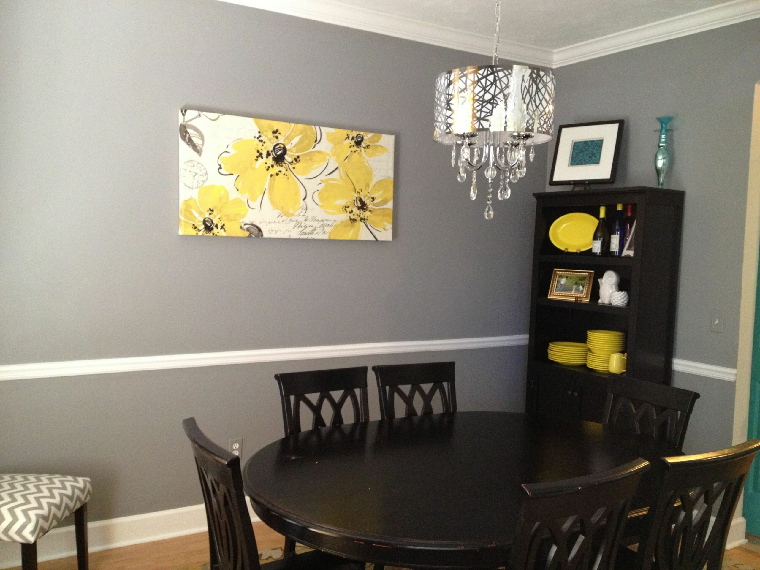 Grey and yellow dining room with a fabulous chandelier. | Grey ...