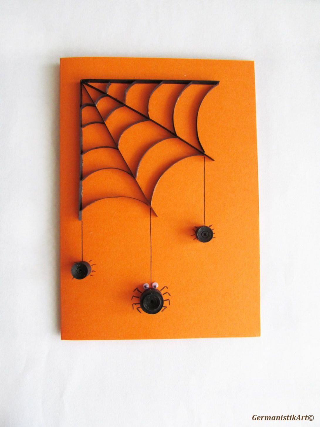 Halloween Spider Card, Quilled Black Spider Web Card, Blank ..
