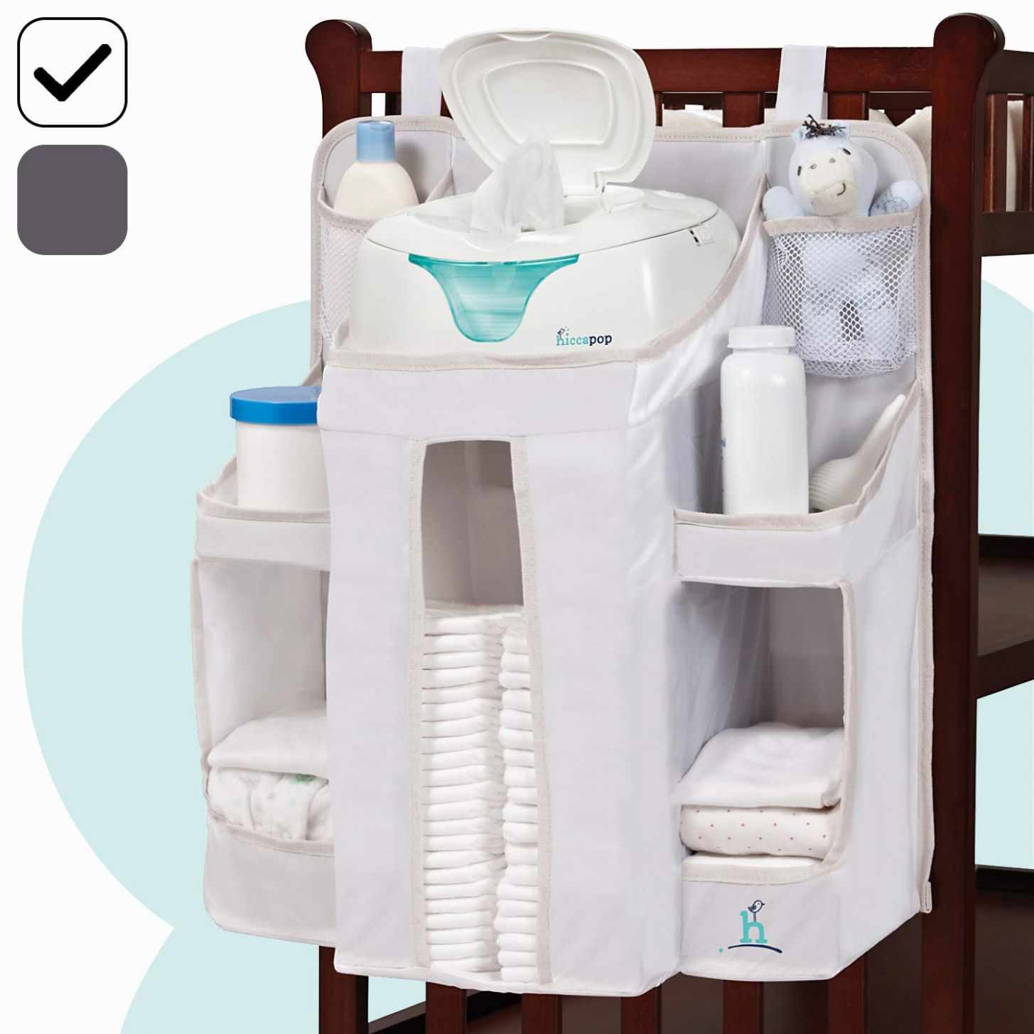 hiccapop Nursery Organizer and Baby Diaper Caddy | Hanging Diaper  Organization Storage for Baby Essentials | Hang on Crib, Changing Table or  Wall - baby room organiser