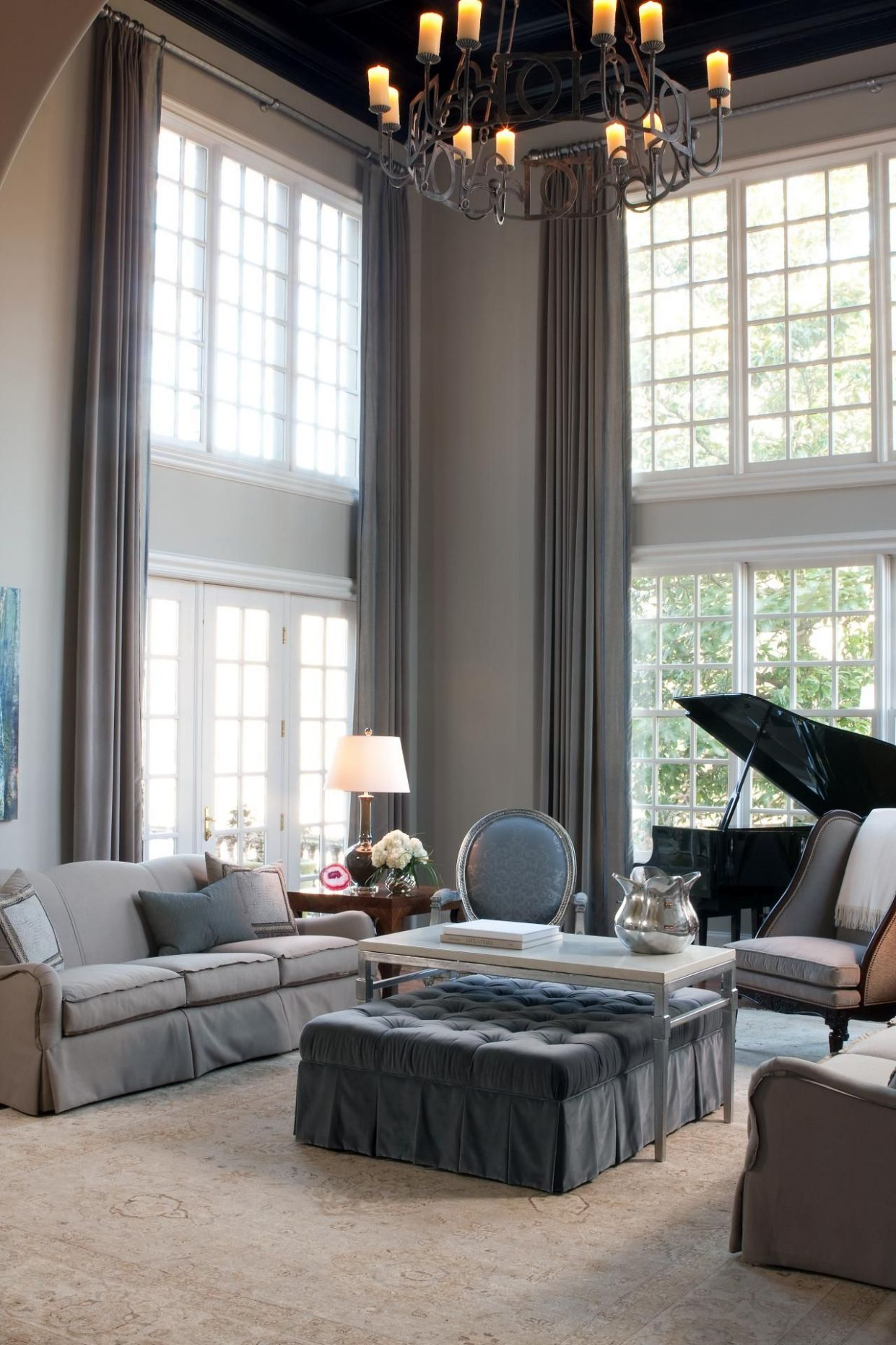 High Ceiling Living Room Curtain Ideas With Interesting Design Cur ...