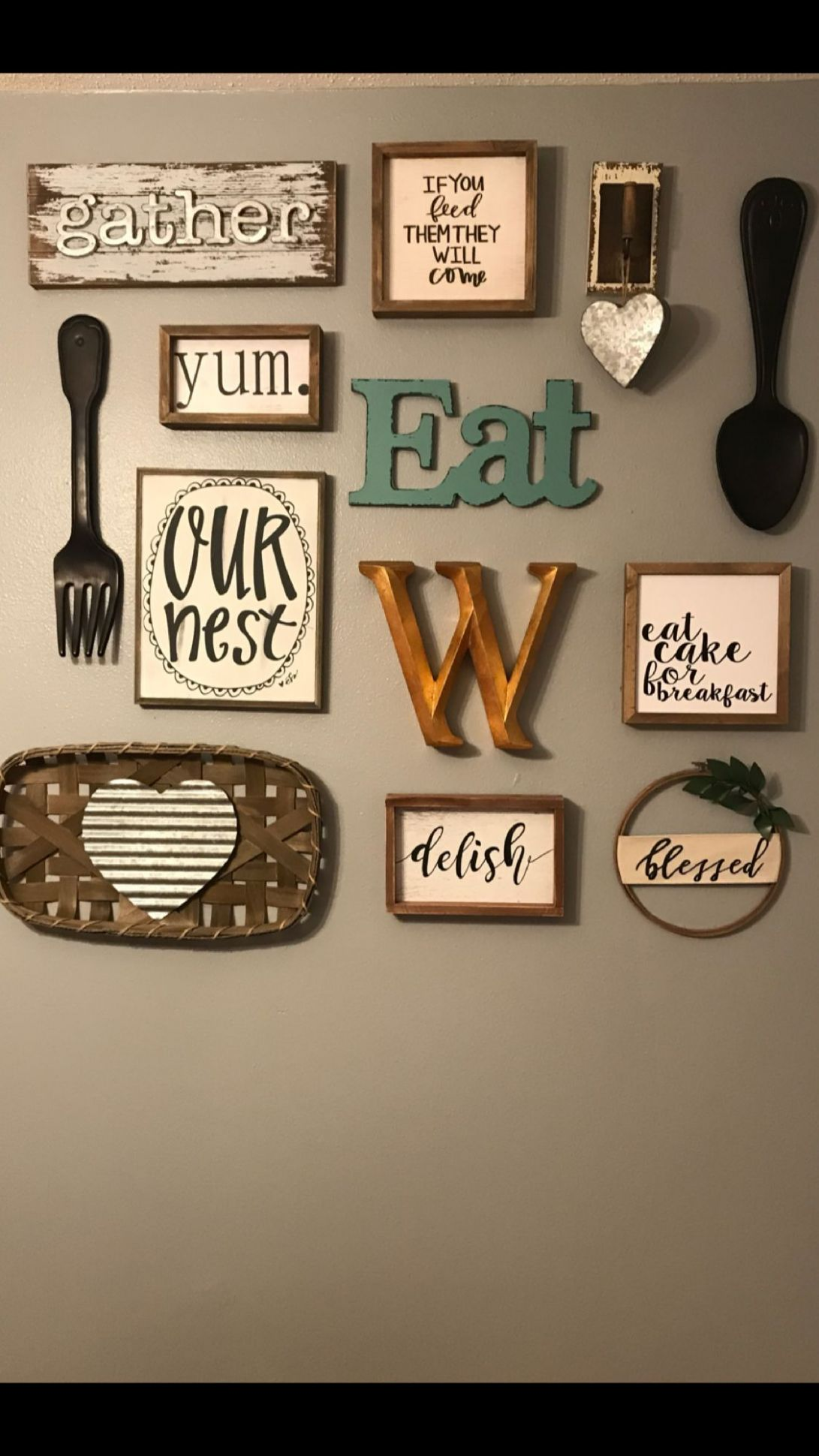 Hobby lobby collage wall | Dining room wall decor, Kitchen gallery ..