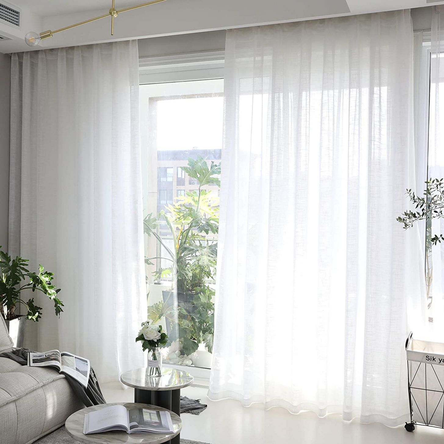 """Home Brilliant Linen Sheer Curtains White Voile Window Treatment Living  Room Bedroom Curtains, 12 Panels, 12"""" x 12 inch Length - window dressing ideas with voile"""