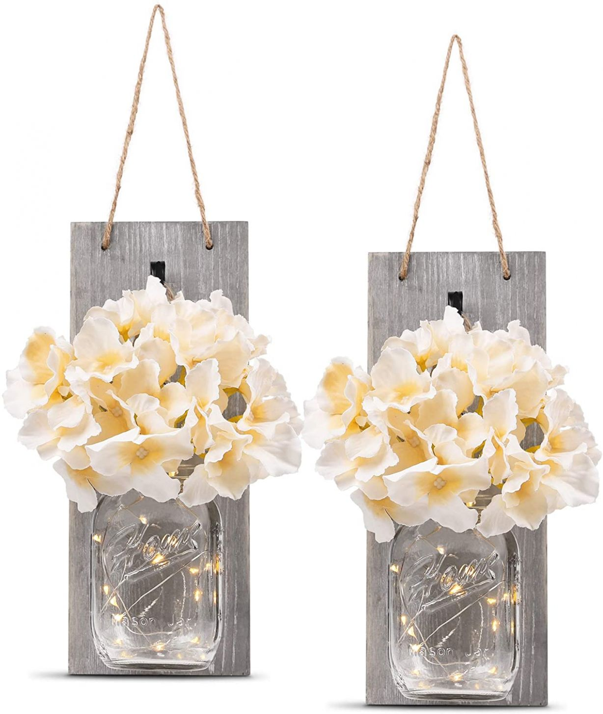 HOMKO Decorative Mason Jar Wall Decor - Rustic Wall Sconces with 11-Hour  Timer LED Fairy Lights and Flowers - Farmhouse Home Decor (Set of 11)