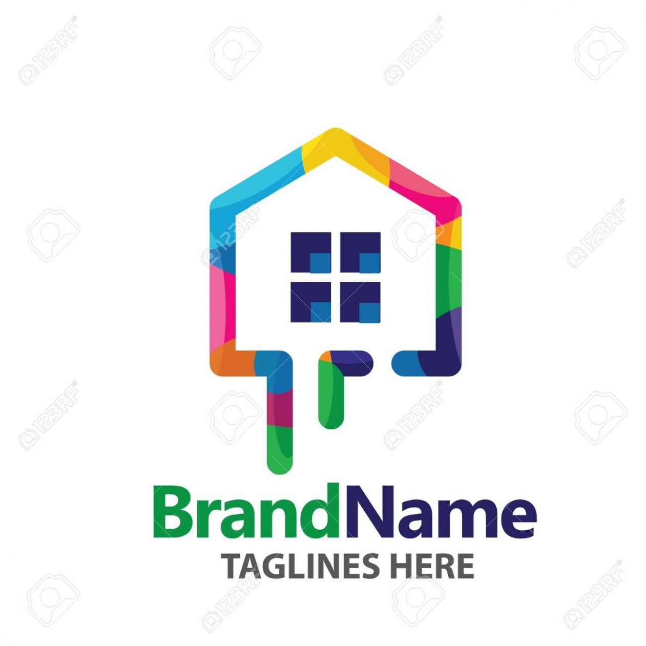 House painting service decor and repair logo,home decoration.