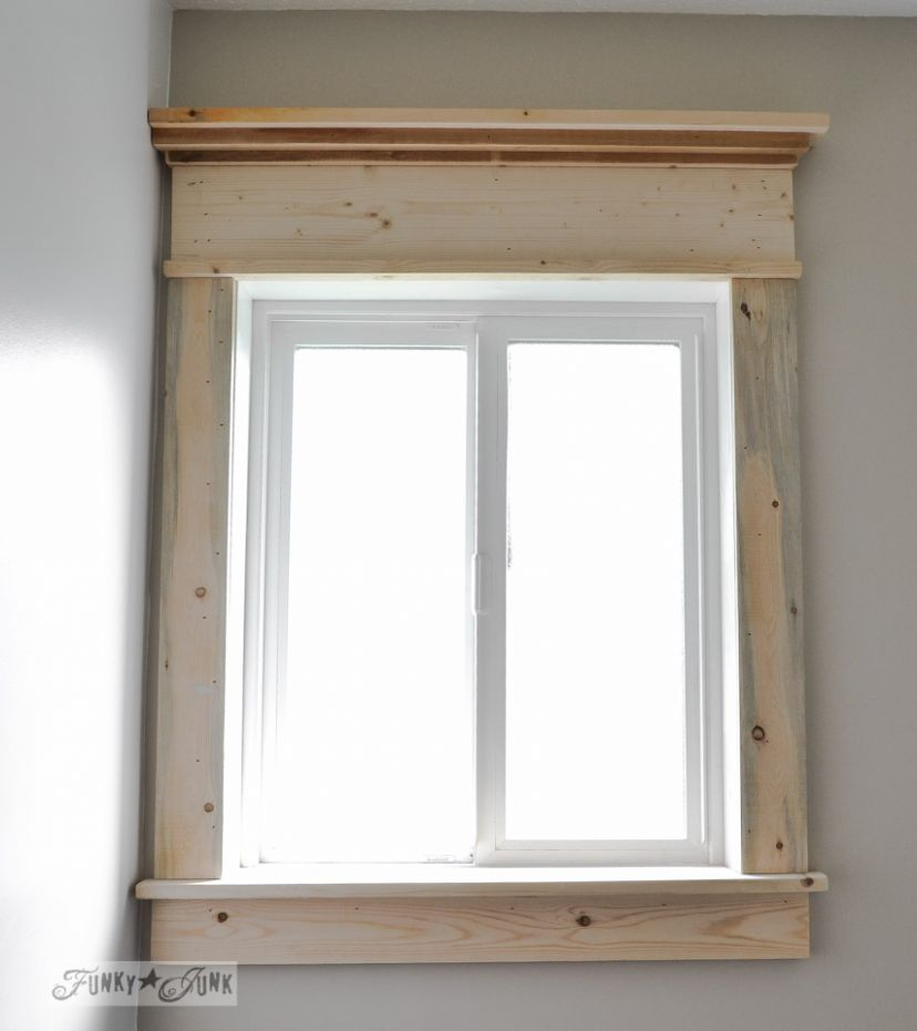How to make a farmhouse window with moulding - window casing ideas interior