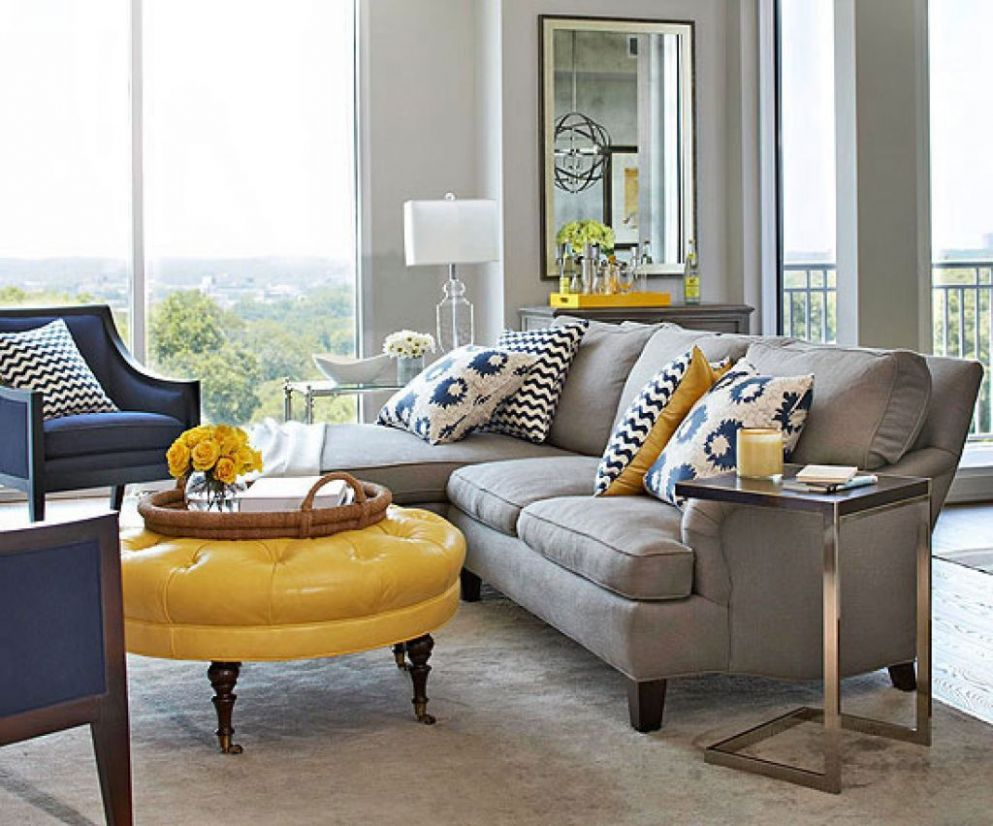 Image result for living room design trend yellow blue | Blue grey ...