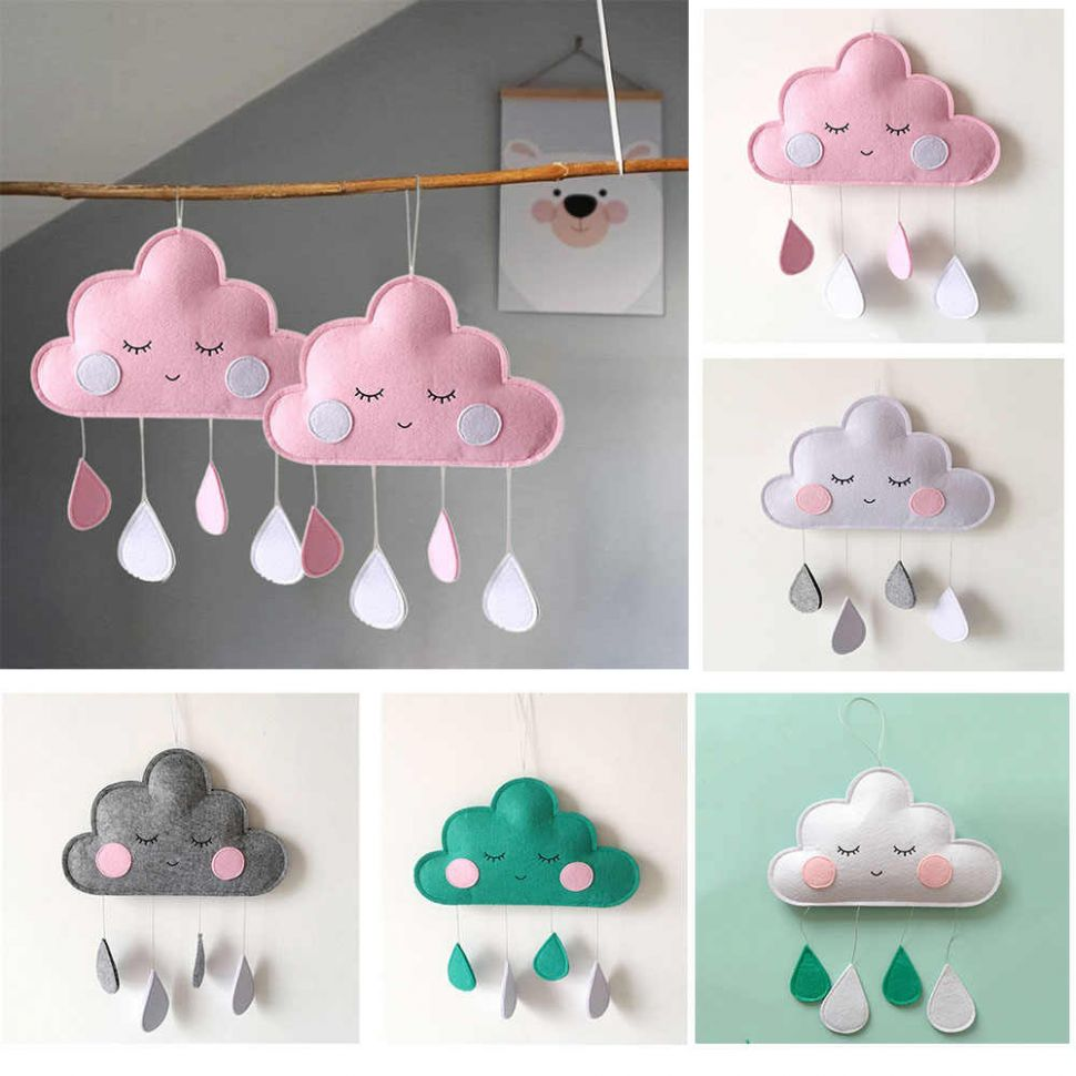 INS Baby Room Decor Clouds Raindrop Hanging Ornaments Babykamer ..