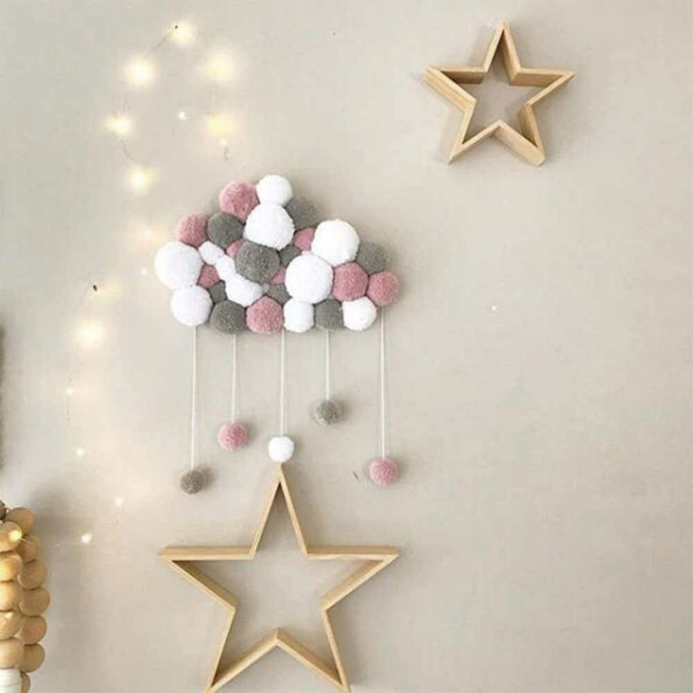 INS Baby Room Decor Coral Velvet Hairball Hanging Ornaments Infant Baby  Crib Room Decoration Photography Prop Baby Bedroom Decor - baby room ornaments