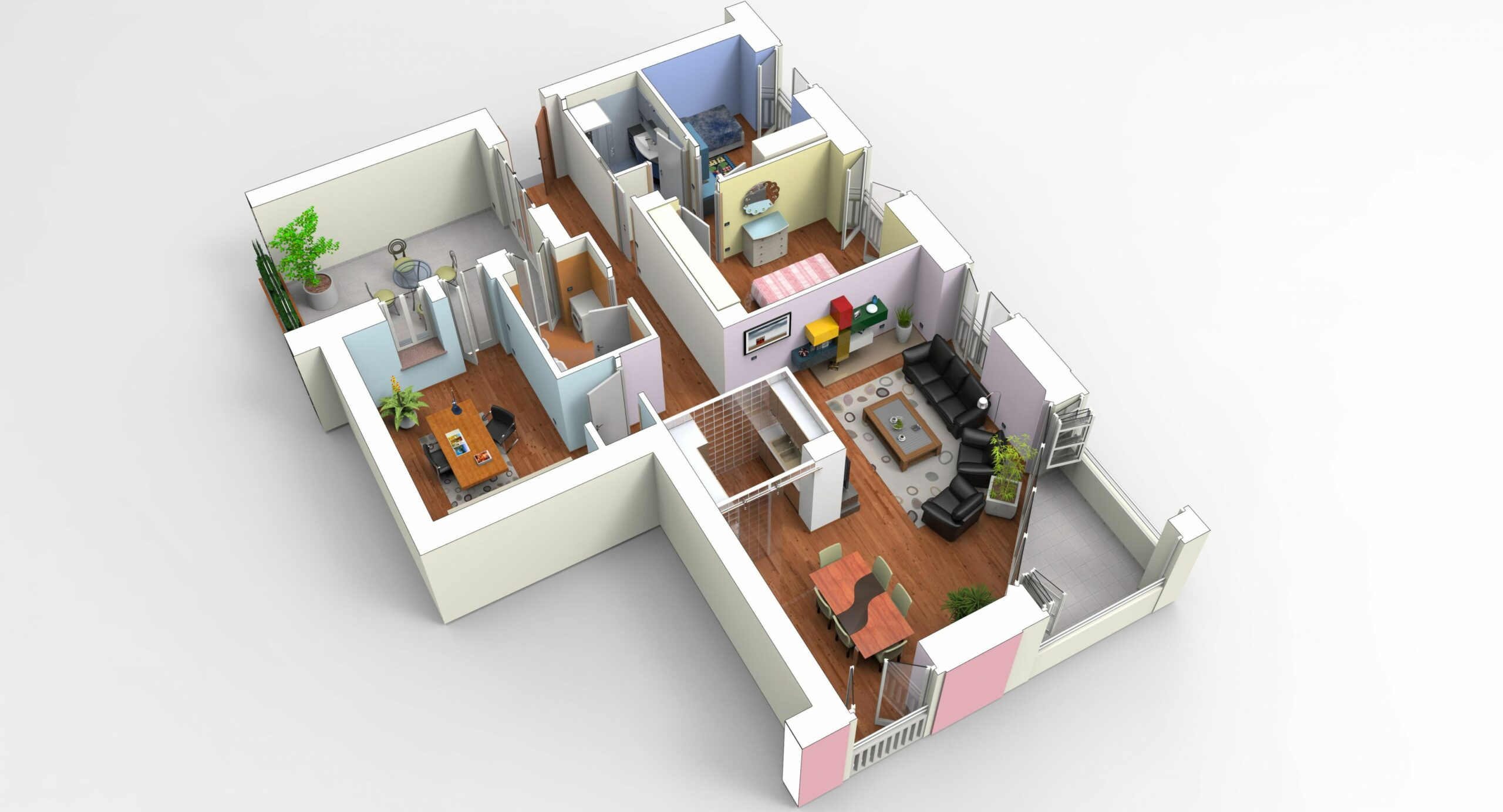 Interior apartment modeled in MoI, furniture in SketchUp and ...