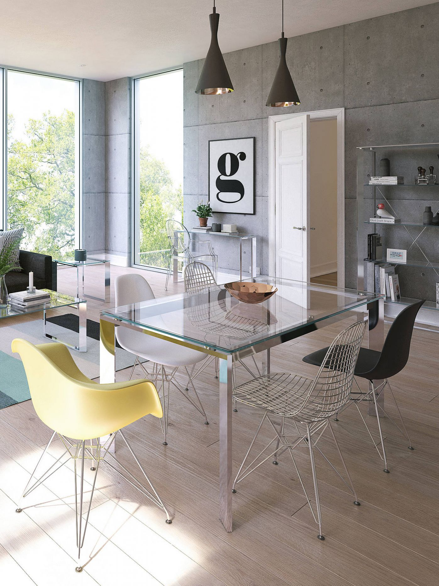 John Lewis & Partners Tropez 12 Seater Glass Top Dining Table, Clear/Steel - john lewis dining room ideas