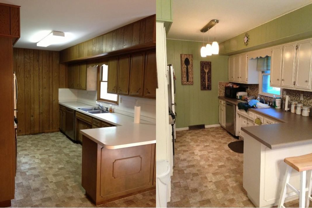 Kitchen before & after. 9's ranch-style house kitchen update ...