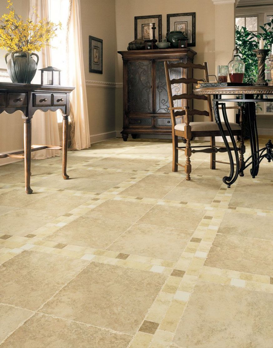 living room floor tile design ideas | Dining Room With Classic ..