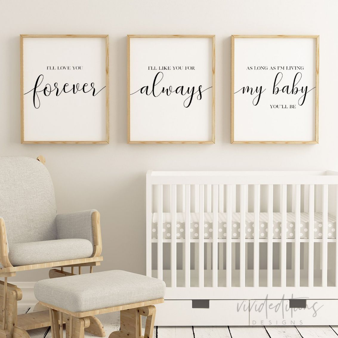 Love You Forever Nursery Quote Prints (Set of 12) - baby room prints