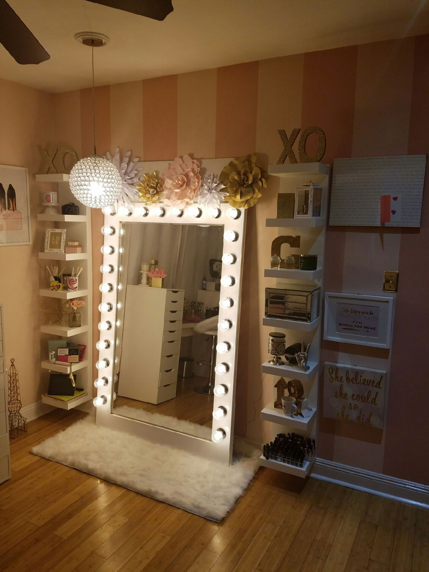 Makeup storage with diy style Hollywood glam light | Glam room ...