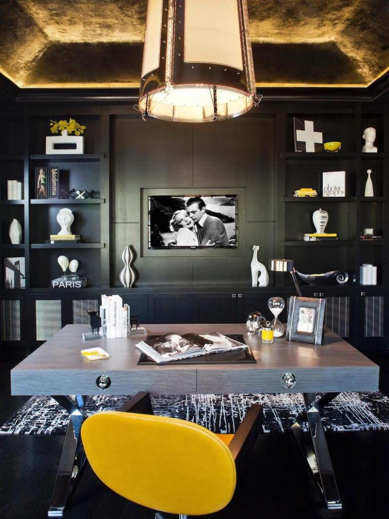 Masculine Home Office With Tray Ceiling #HomeOffice ...