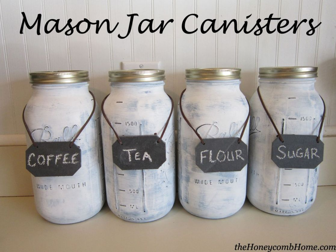 Mason Jar Canisters | Painted mason jars, Mason jar kitchen, Mason ..