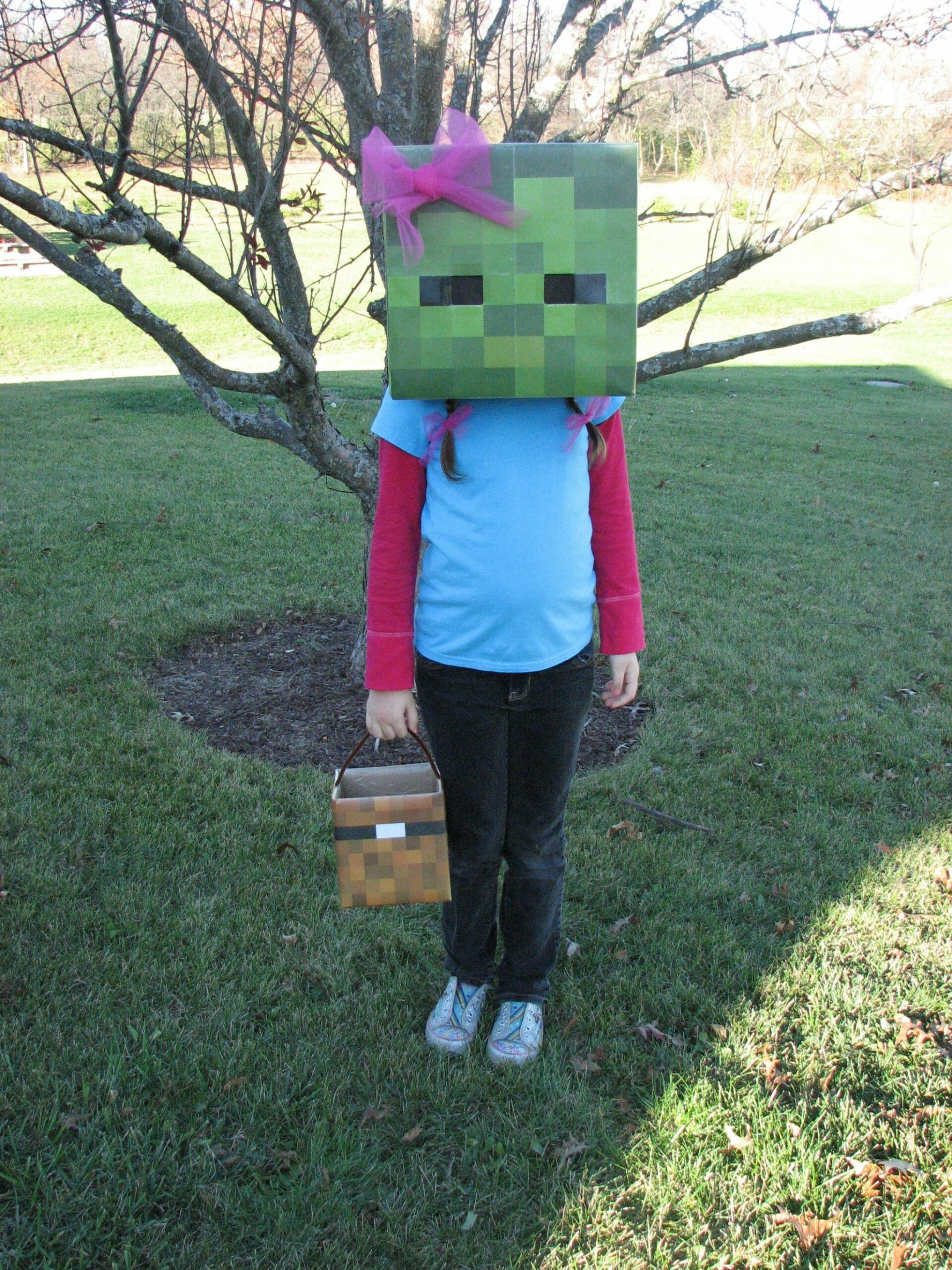 Minecraft Zombie Costume Like the chest she is holding ..