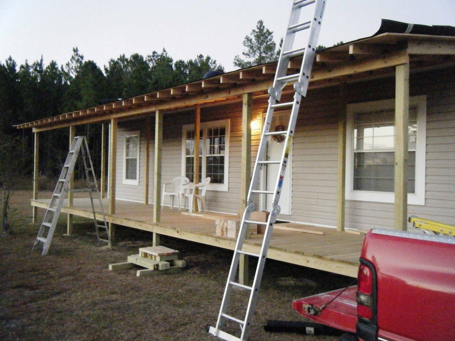 mobile home porches | front porch being built onto double wide ...