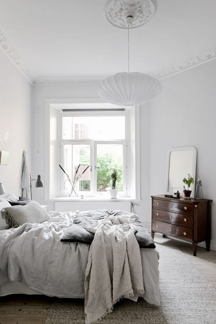 modern bedroom inspiration | grey and white room with dark wood ..