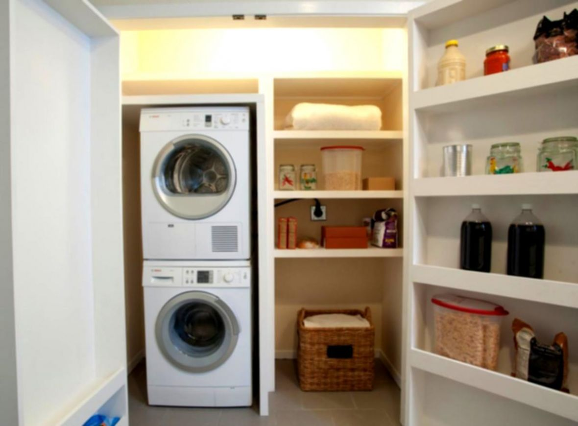 Modern Small Laundry Room Stackable Washer Dryer With, Small ...