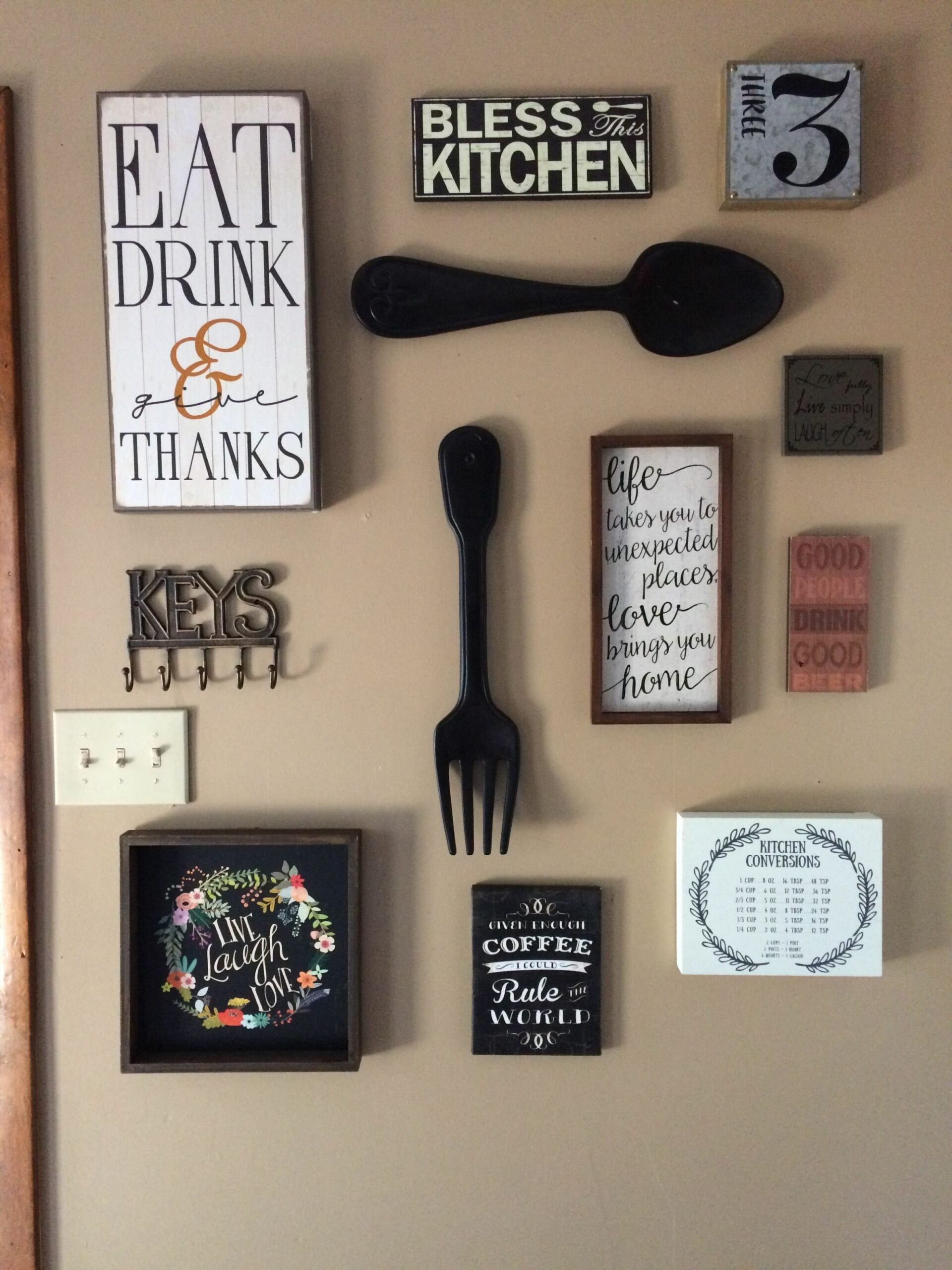 My kitchen gallery wall. All decor from hobby lobby and Ross ..