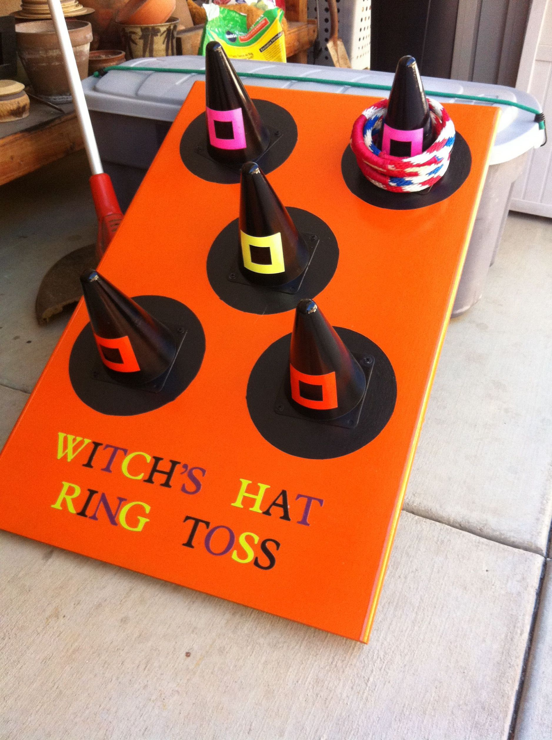 My parents made this awesome ring toss game for Halloween ..