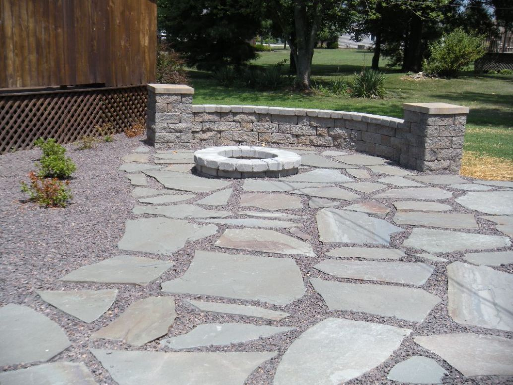 Natural Stone Patio/ Burn Pit/ Courtyard Sitting Wall/ Landscaping ..