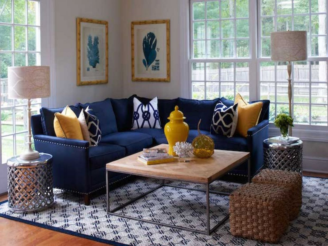 Navy Blue And Yellow Living Room Ideas | Blue sofas living room ...