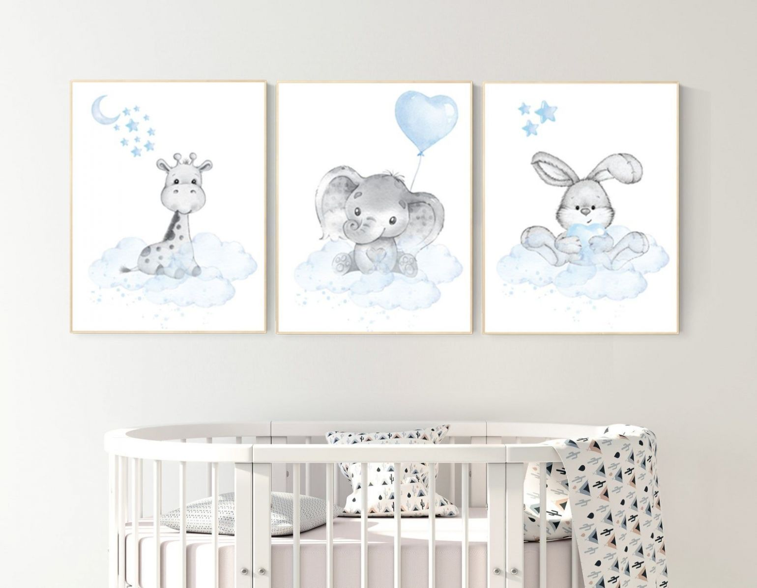 Nursery decor elephant and giraffe, animal nursery prints, blue ...