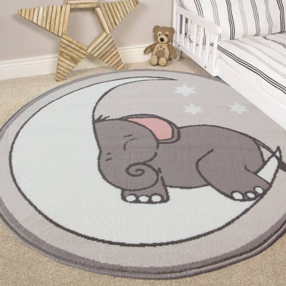 Nursery Style Elephant, Moon and Stars Kids Baby Room Childrens Floor Area  Rug Mat - baby room mat