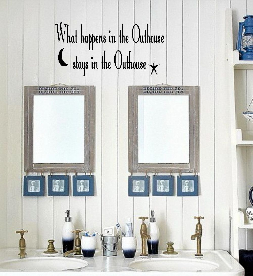 Outhouse/Bathroom Vinyl Wall Decor Lettering Sticky Art Funny ..