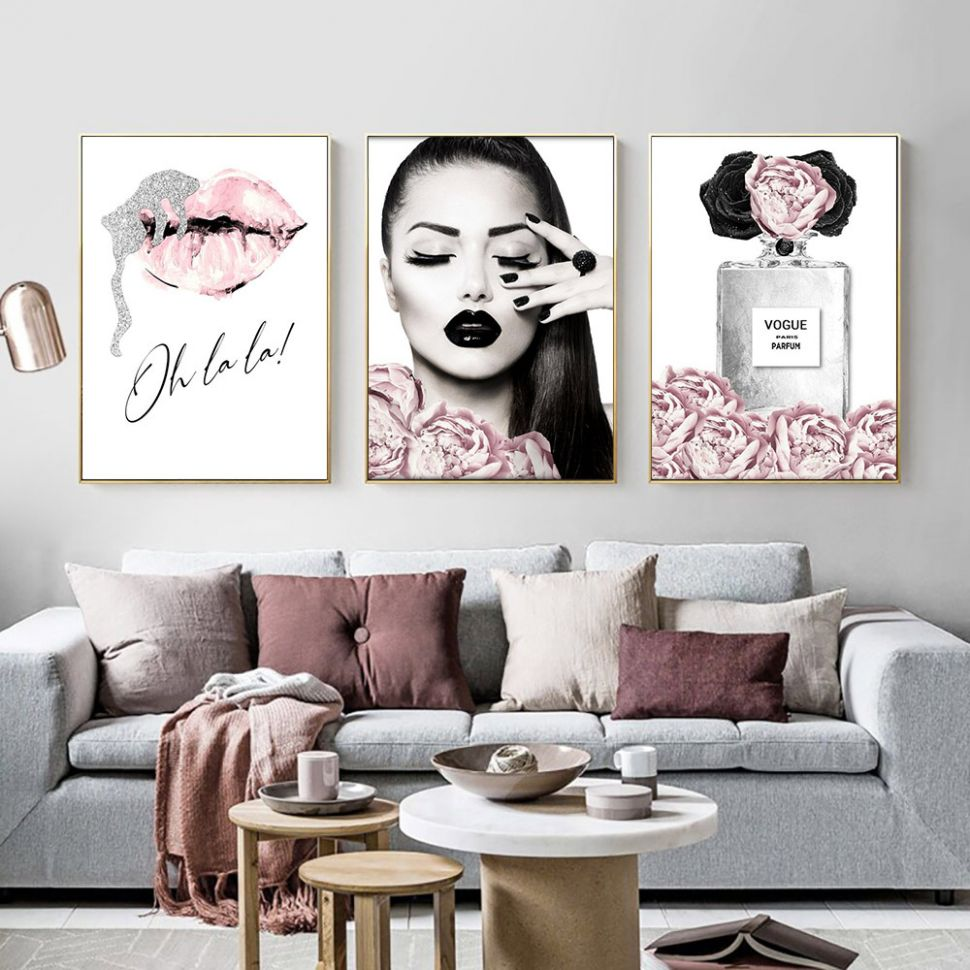 Perfume Lips Poster Fashion Canvas Painting Flowers Art Print ...