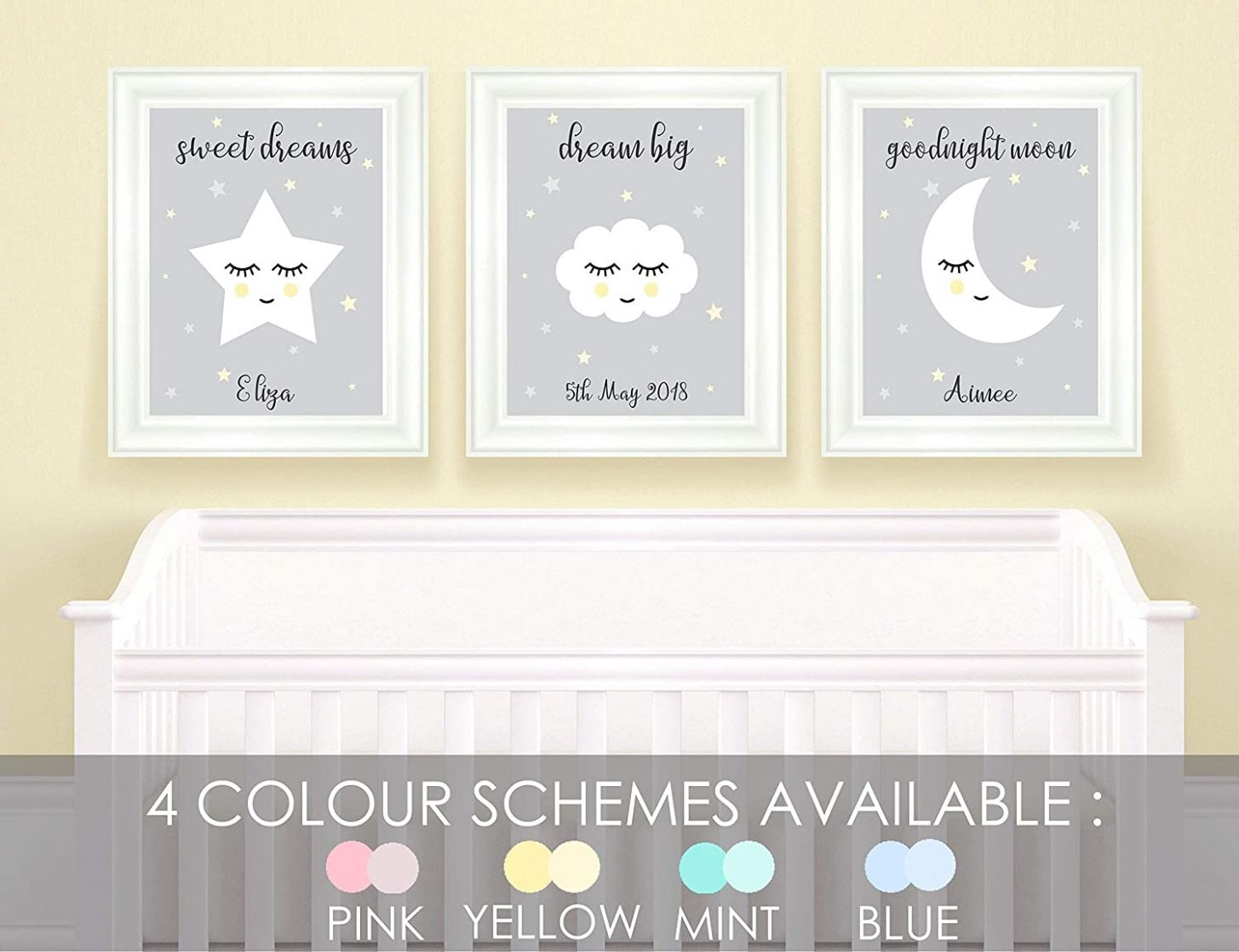Personalised Nursery Pictures for Wall, Childrens Bedroom Stars ..