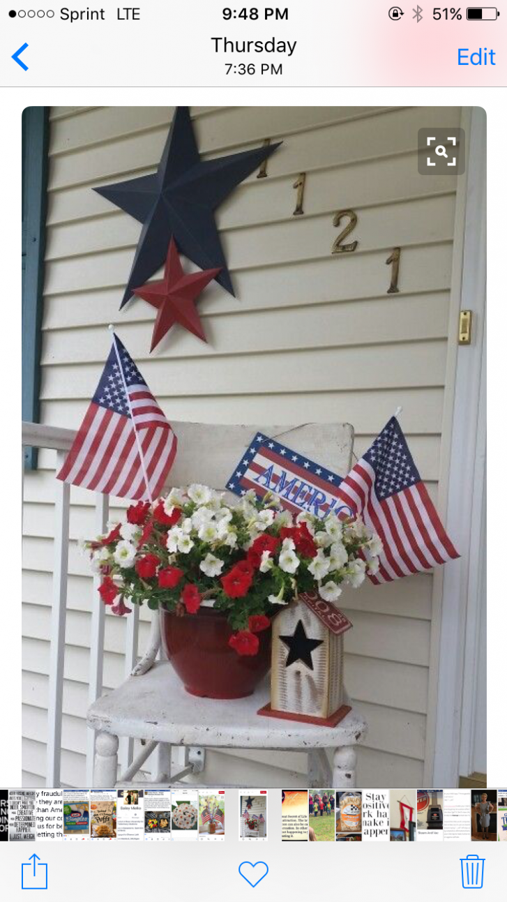 Pin by Noni11 on Front Porch | 11th of july decorations, Patriotic ..