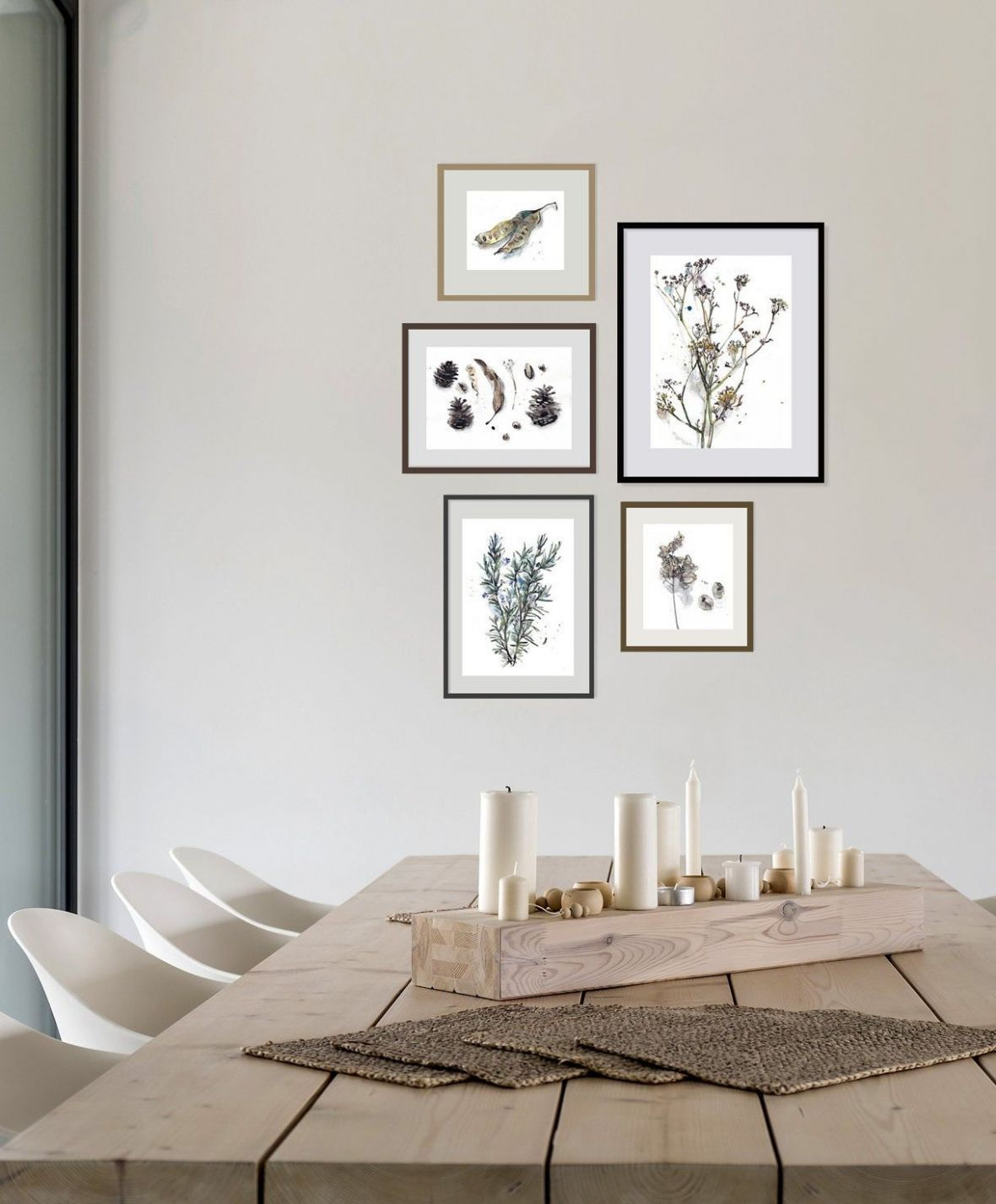 Plant Gallery Wall Art, Botanical Drawing Set of 12, Beige Green ..