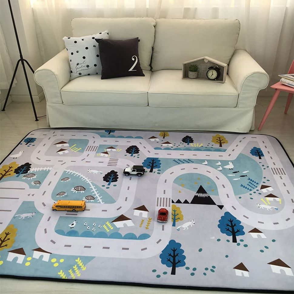 Play Mat for Baby Grey Area Rug Foam Play Mat Living Room Floor Mats Baby  Crawling Mats Climbing Pad Nursery Rug Carpet, Village, 12 by 12 Inches