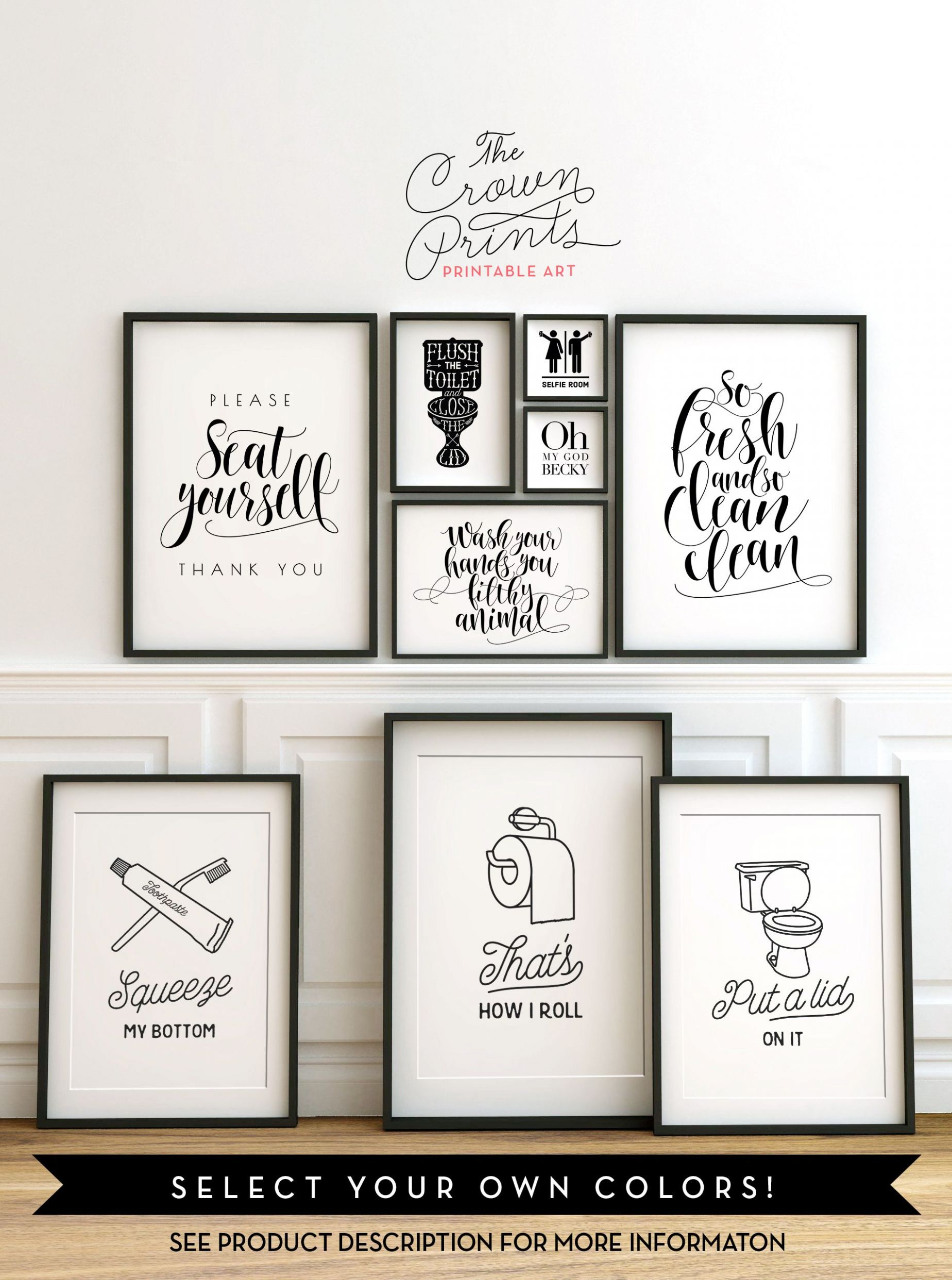 Printable bathroom wall art from The Crown Prints on Etsy - lots ..