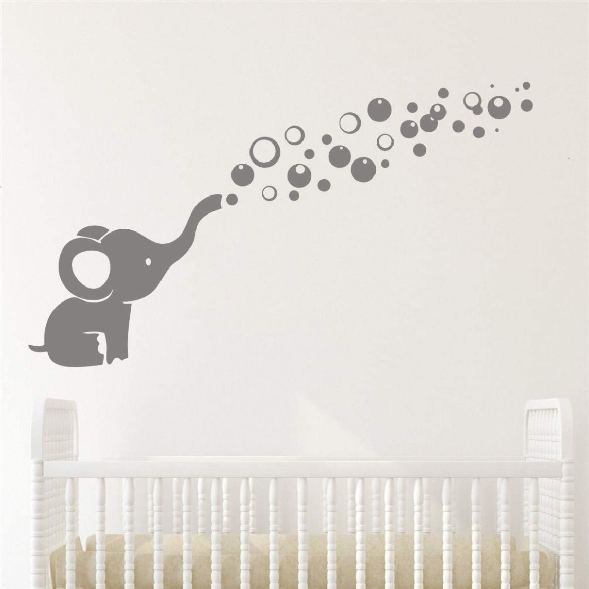Removable Nursery Room Wall Decor Cute Elephant Blowing Bubbles Wall Decal  Art Vinyl Wall Decor Sticker for Baby Bedroom (Gray) - baby room elephant